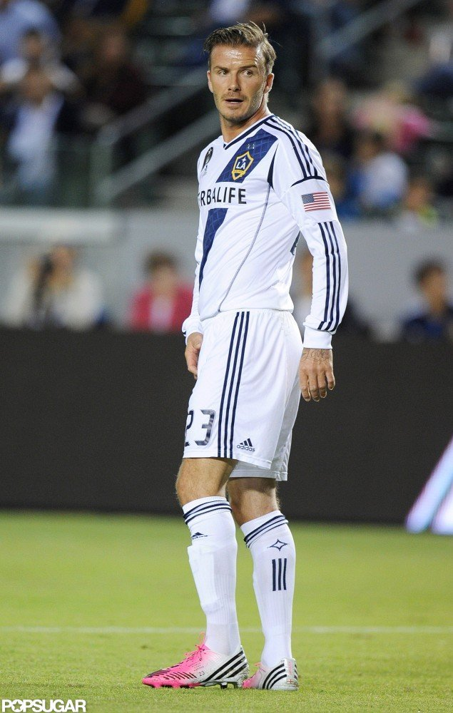 David Beckham wore pink cleats for his playoff game.