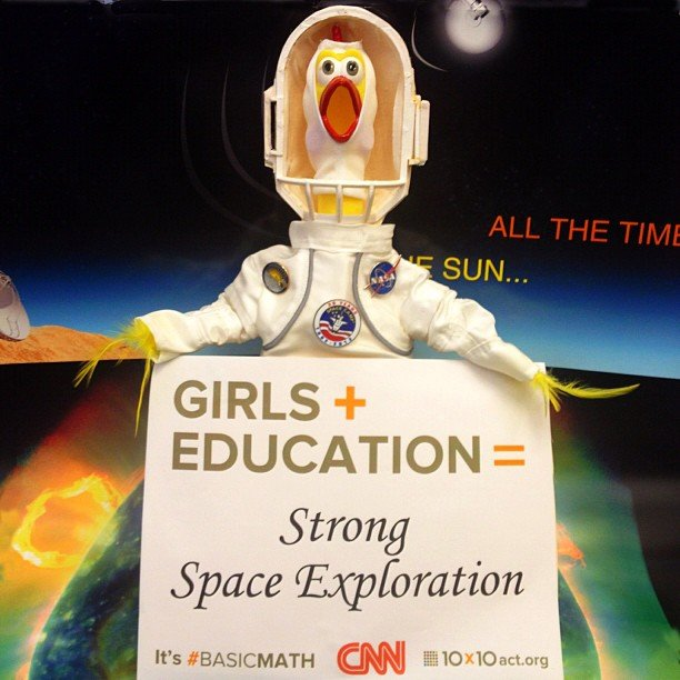 """On October 11 we will be celebrating 'International Day of the Girl'. As you might know, I am all about getting girls excited about Science, Technology, Engineering and Math. So for me, Girls + Education = Strong Space Exploration. For this celebration I am wearing my Space Camp outfit. I believe it to be a very appropriate outfit as Space Camp provides such great inspiration. Please join me, 10x10 - Educate Girls. Change the World, and all the girls around the world in this celebration. #STEM #10x10 #BasicMath #CNN"" Source: Instagram user camillasdo"