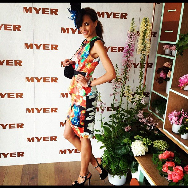 Rebecca Judd's Melbourne Cup look! Dress by Nicola Finetti and headwear by Kerrie Stanley. Source: Twitter user @becjuddloves