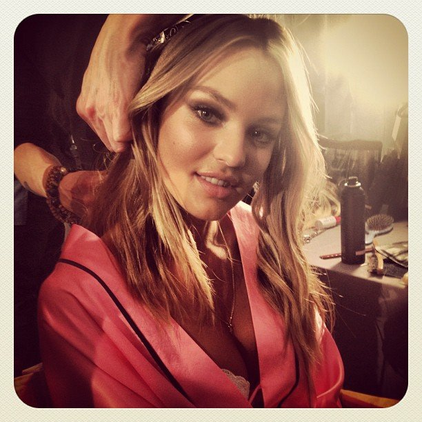 Candice Swanepoel got her hair perfected by a stylist.  Source: Instagram user luckymagazine