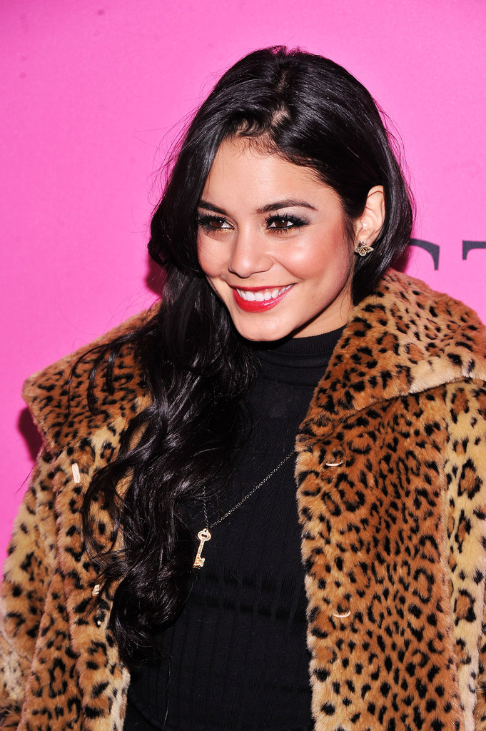 Vanessa Hudgens wore a leopard coat at the Victoria's Secret Fashion Show after party.