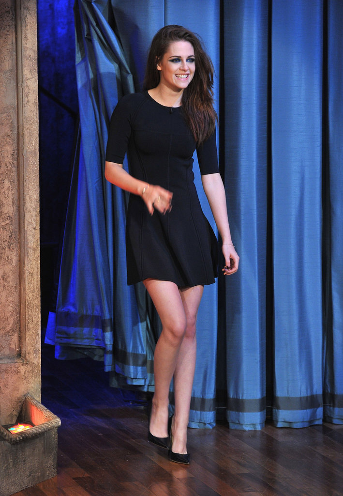 Kristen Stewart was on Late Night With Jimmy Fallon in NYC.