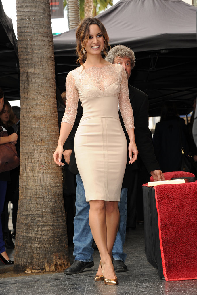 Bérénice Marlohe arrived in a nude minidress.