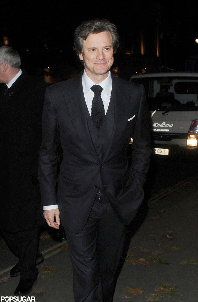 Colin Firth smiled for photographers in London.