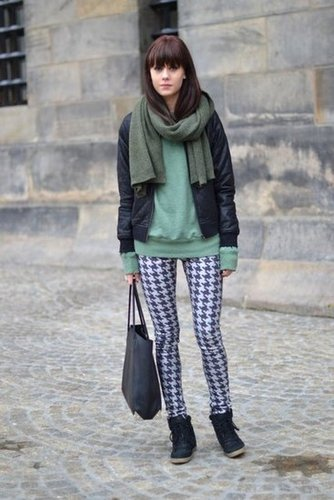 Printed pants and a pop of green up the ante on this styled mix. Source: Lookbook.nu