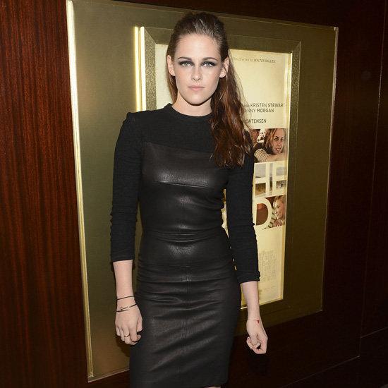 Kristen Stewart Wearing Black Leather Dress