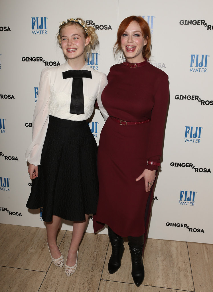 Elle Fanning and Christina Hendricks posed together before their screening.