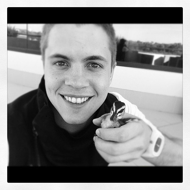 Johnny Ruffo made a new feathered friend. Source: Instagram user johnny_ruffo