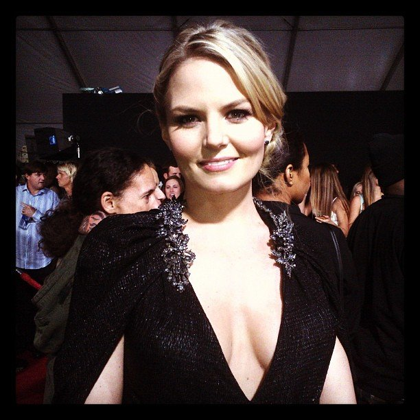Jennifer Morrison wore a deep plunging gown to the AMAs. Source: Instagram user instylemagazine