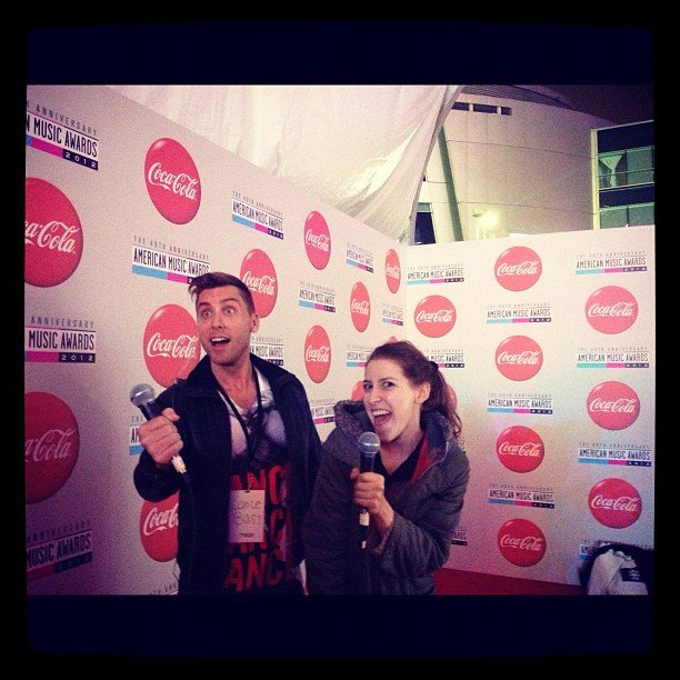 Eden Sher and Lance Bass joked around during rehearsals. Source: Instagram user lancebass