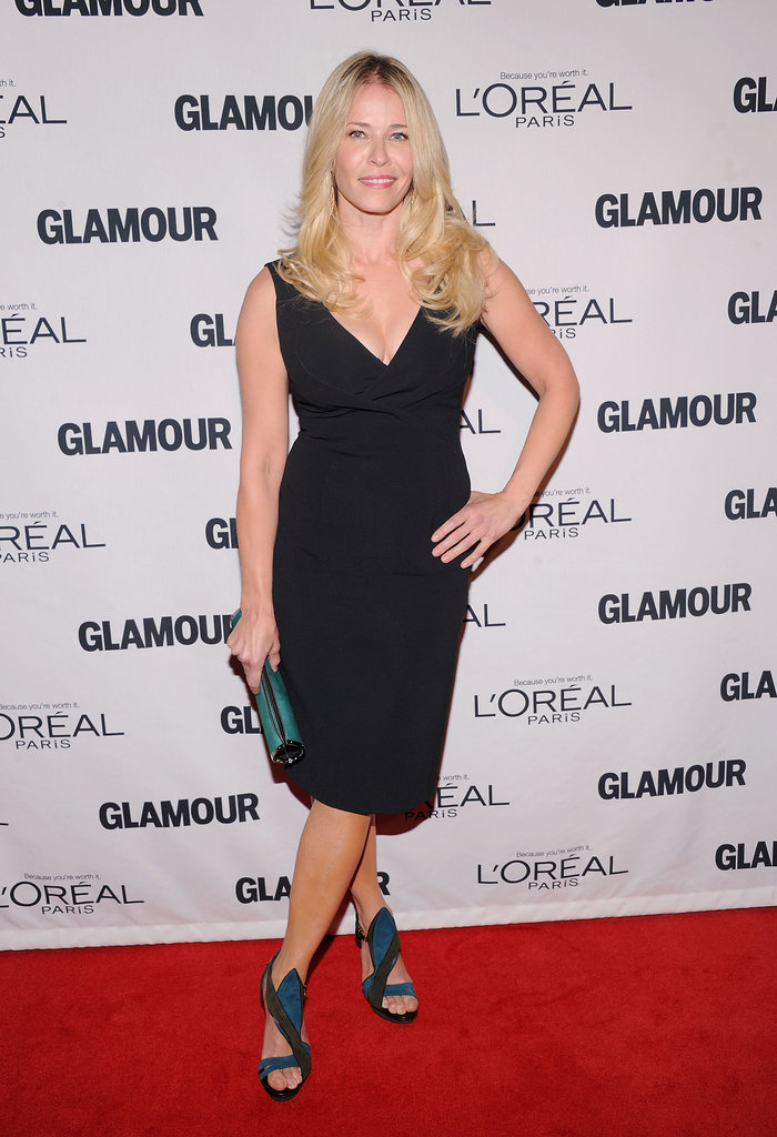 Chelsea Handler kept it simple when it came to her Antonio Berardi dress, and left the statement-making to her two-tone Maiyet strappy sandals.