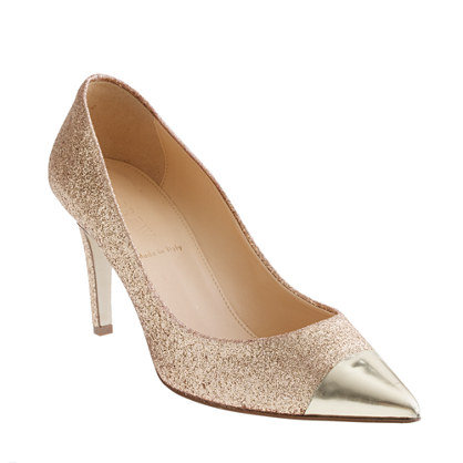 These cool J.Crew Cap-Toe Glitter Pumps ($265) get the party-girl treatment with a splash of glitter.