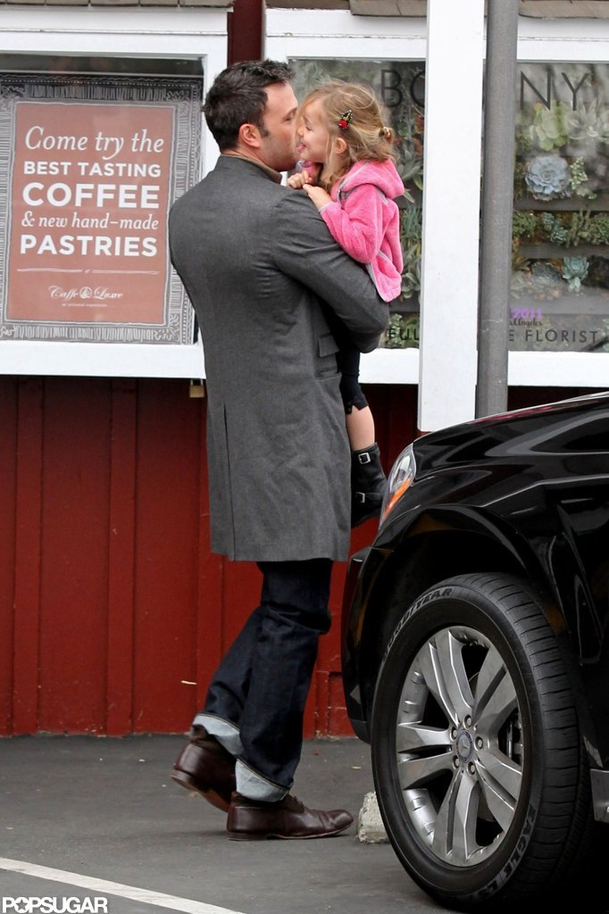 Ben Affleck had Seraphina in his arms on the way to breakfast.