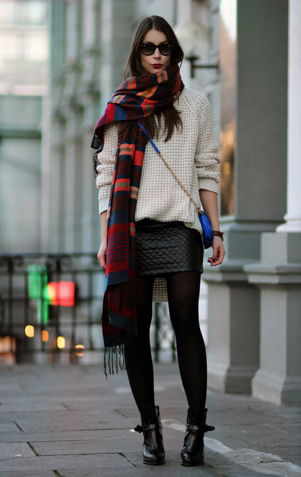 Spruce up your Winter styling with a bold scarf and bag against a classic palette and a pop of leather. Source: A Portable Package