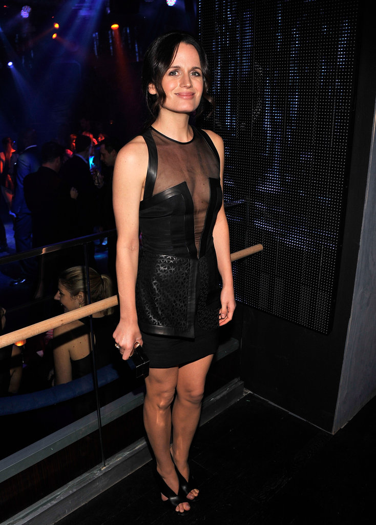 Elizabeth Reaser donned a supersexy leather LBD, complete with a sheer-inset neckline.