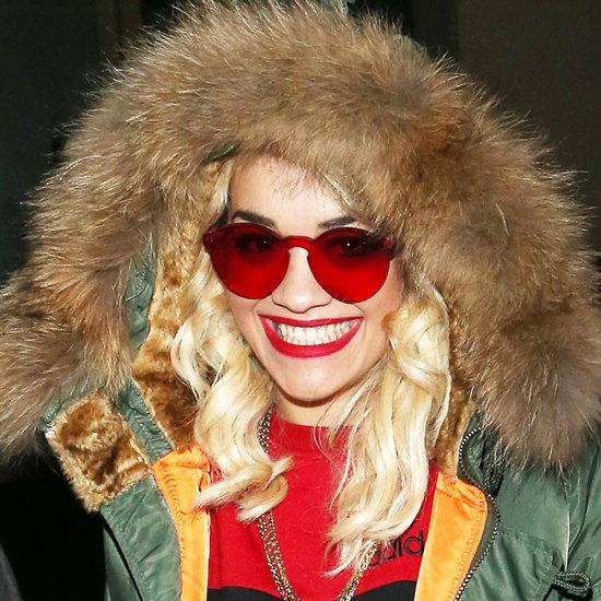 Rita Ora Wears Red Sunglasses