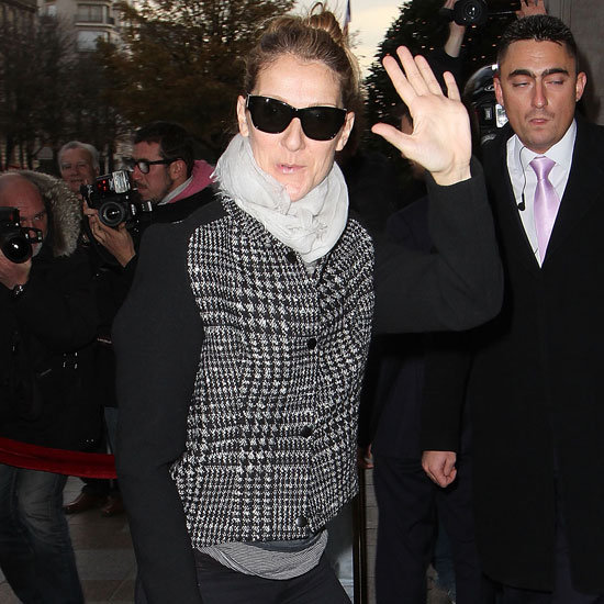 Celine Dion Wearing Houndstooth Jacket