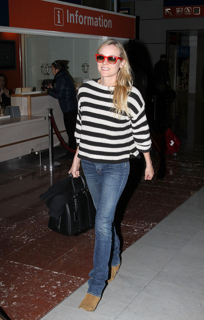 Diane Kruger made her way through a Paris airport.