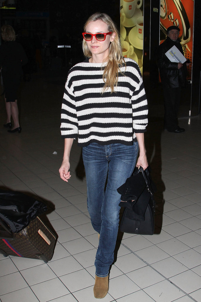 Diane Kruger made her way through the airport in Paris.