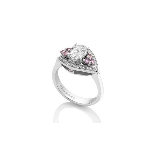 White gold, white and pink diamond ring, POA, Cerrone. Call (02) 9569 8922.