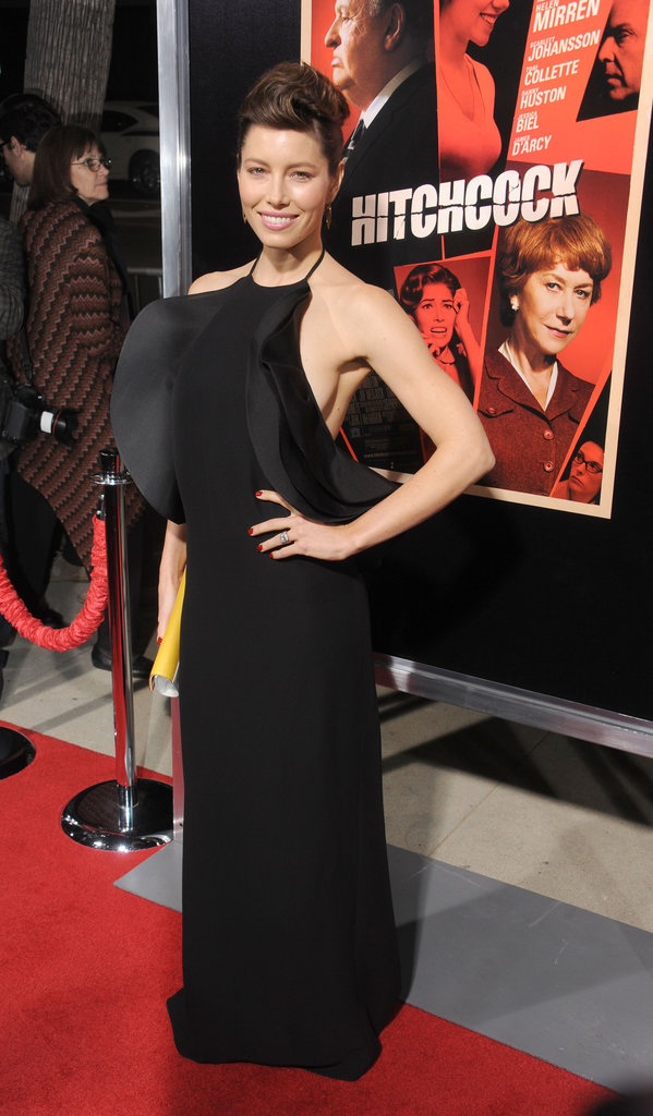 Jessica Biel flaunted her figure in a Gucci dress for the Hitchcock premiere in LA.