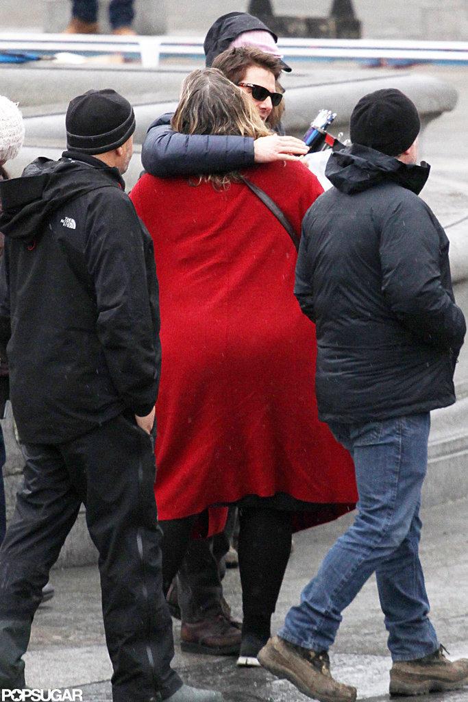Tom Cruise got a hug on his London set.