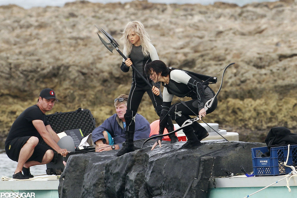 Jennifer Lawrence dove into the water in Hawaii.