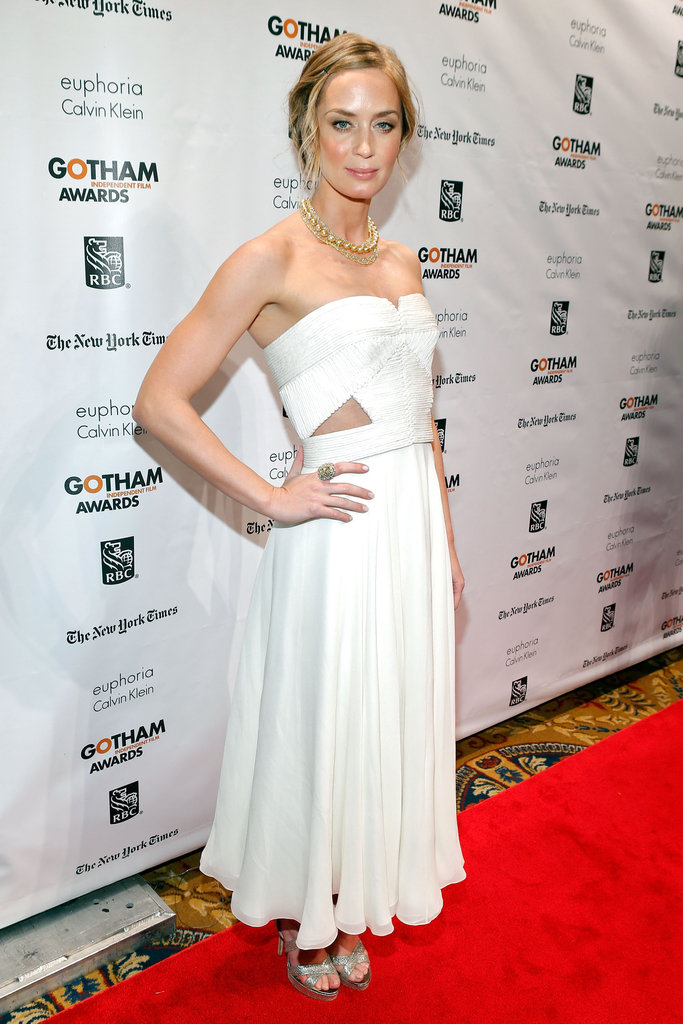 Emily Blunt wore a white gown in NYC.
