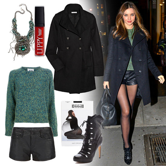 Miranda Kerr Wearing Leather Shorts and Acne Sweater