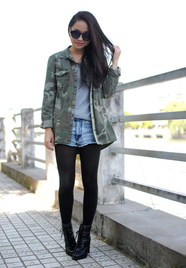 Transform your favorite Summer cutoffs with tights and a touch of camo. Source: Lookbook.nu