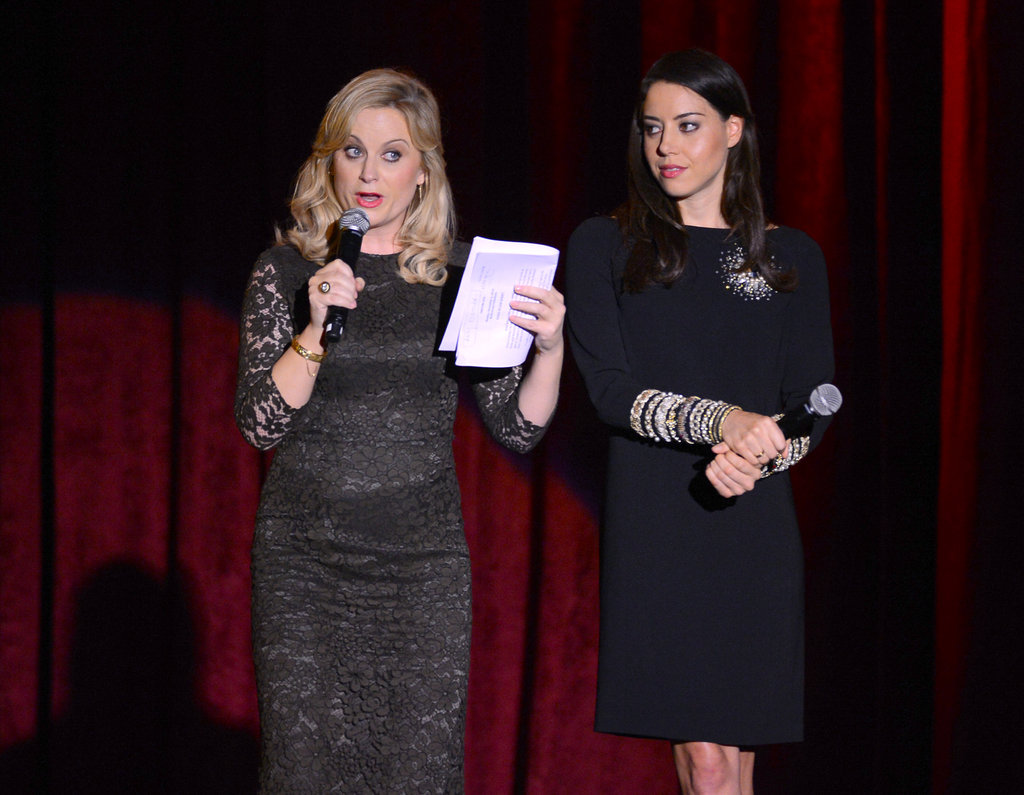 Amy Poehler and Aubrey Plaza were on stage at the benefit.