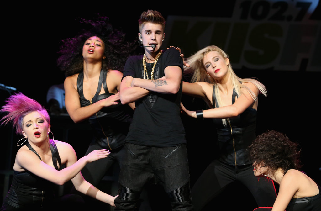 Justin Bieber struck a pose on stage.