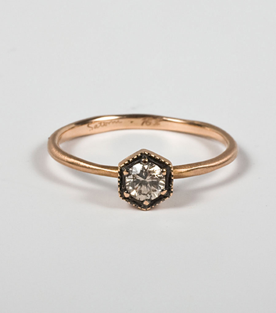 Rose Gold Hexagon Ring