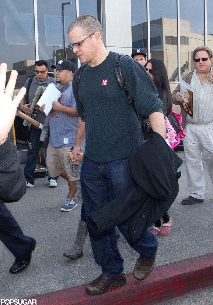 Matt Damon walked with his family in LA.