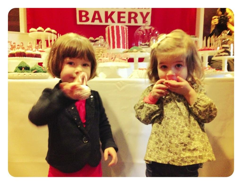 Harper Smith and Simone Masterson-Horn enjoyed some tasty cookies at Santa's Workshop. Source: Twitter user TAThiessen