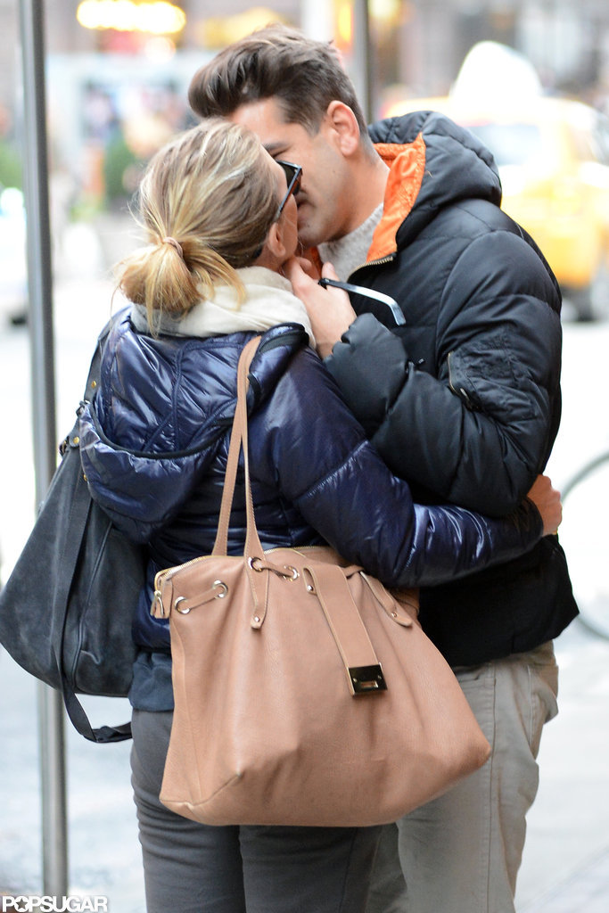 Scarlett Johansson kissed her boyfriend, Romain Dauriac.