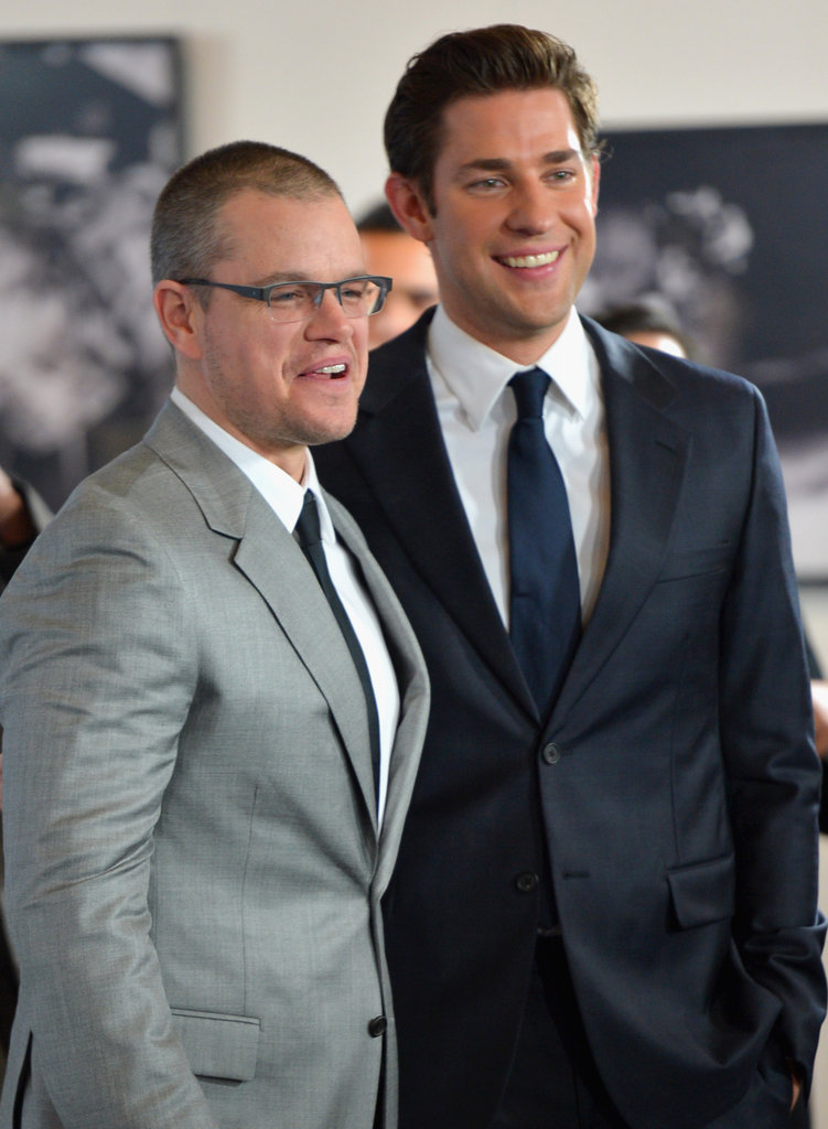 Matt Damon and John Krasinski posed at the premiere of Promised Land in LA.