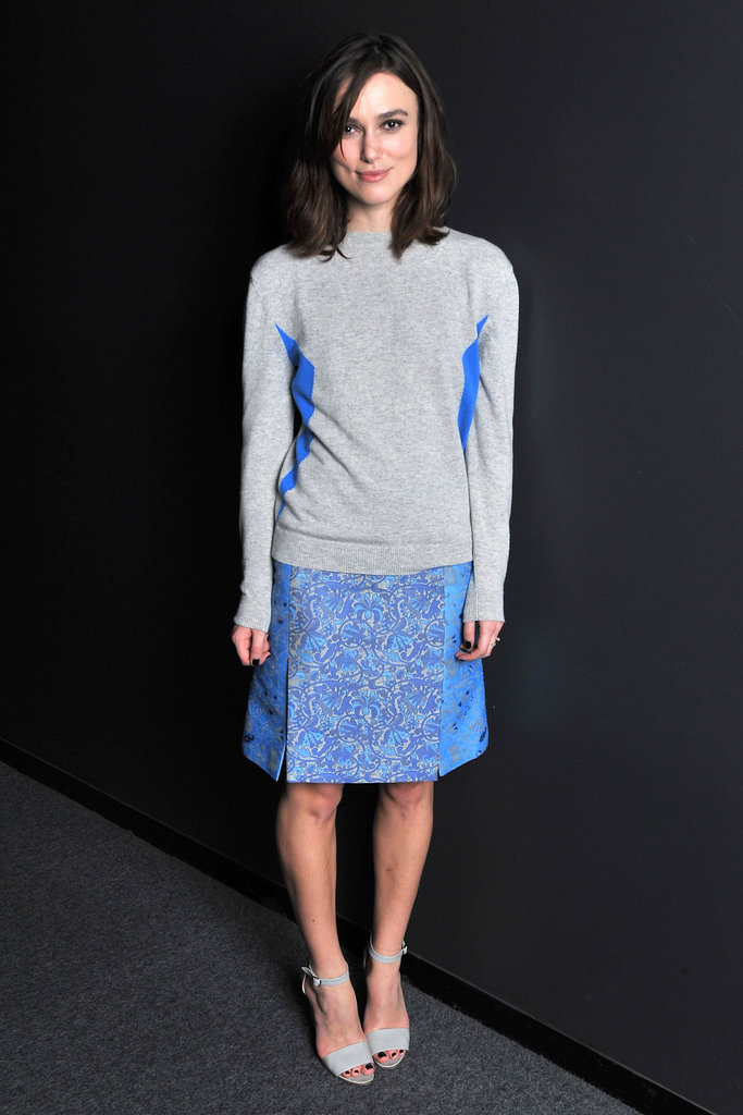 Keira Knightley continued on her Anna Karenina tour in a chic sweatshirt and skirt combo by Richard Nicoll.