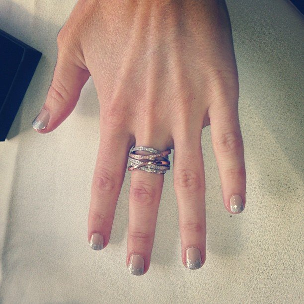 Cool glitter-tip nails and a stunning ring from Ice Jewellery make for one heck of a pretty hand.