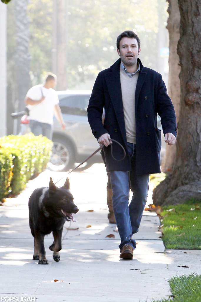Ben Affleck took the dog for a walk.