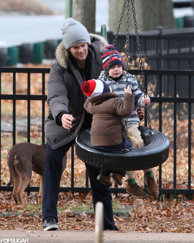 Tom pushed his sons, Benjamin and Jack, around on a tire swing at a Boston park in December.