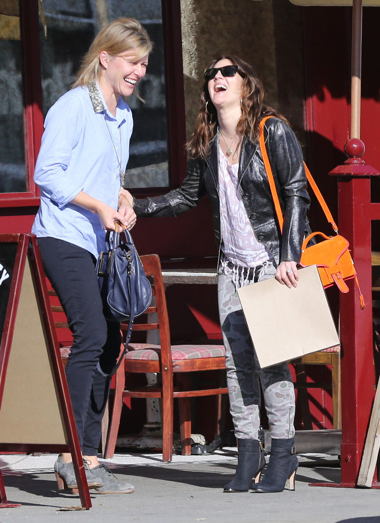 Drew Barrymore had a laugh with a friend in LA.