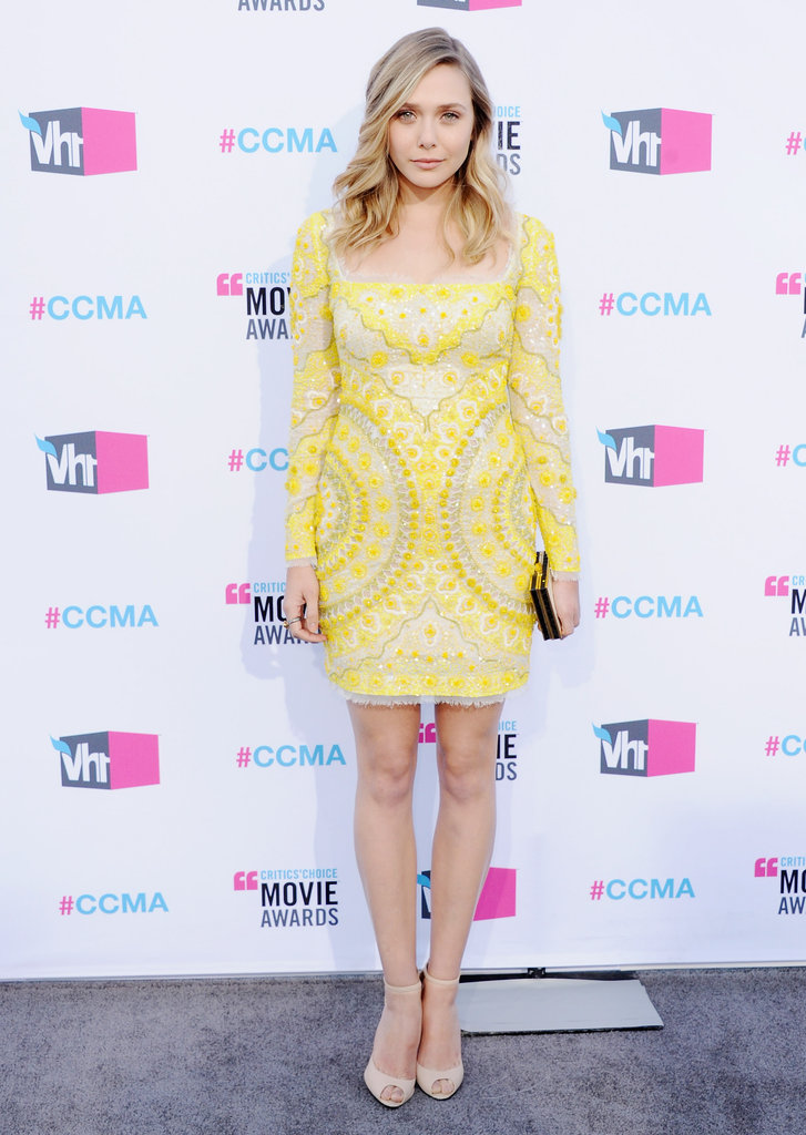 Elizabeth Olsen went short and sweet in a sunny yellow Emilio Pucci mini at the Critics' Choice Awards in January.