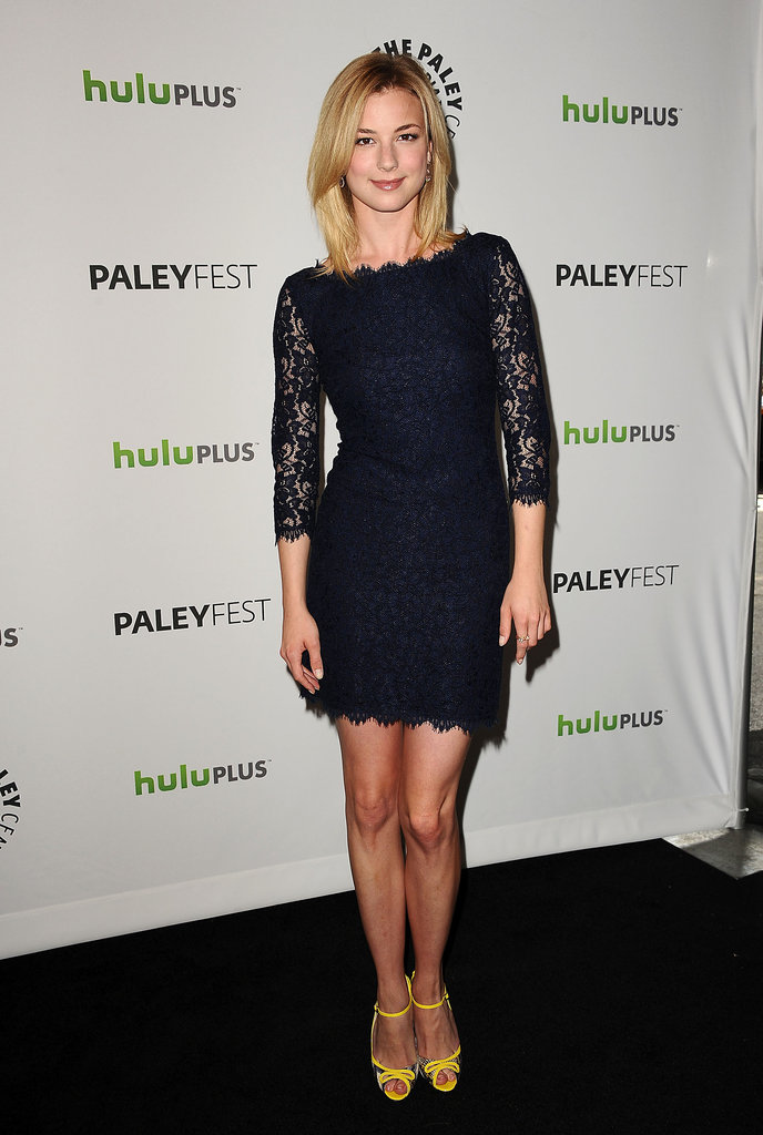 Emily VanCamp paired her navy lace Diane von Furstenberg mini with yellow heels back in March.