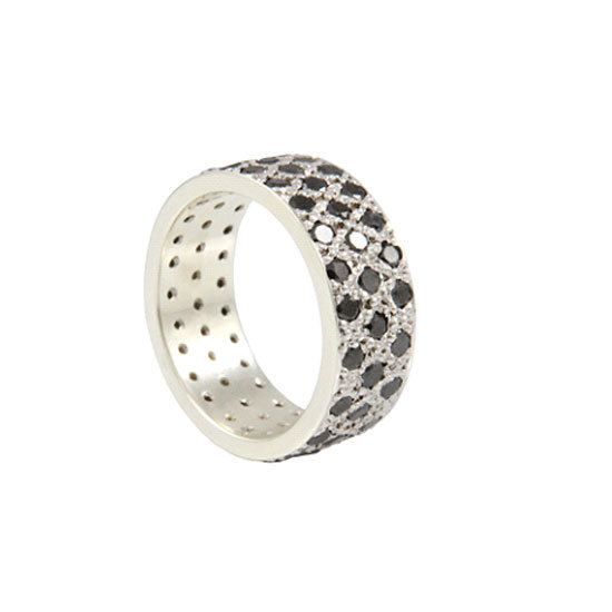 9 carat white gold and black diamond ring, $4,800, Love and Hatred