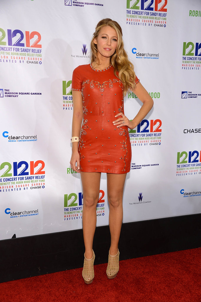 Blake Lively stepped out in NYC to attend the 12-12-12 Robin Hood Relief Fund concert in NYC.