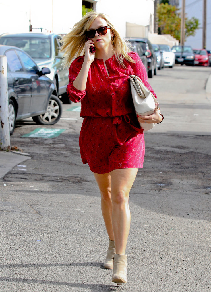 Reese Witherspoon Is Radiant in Red as She Takes Care of Business