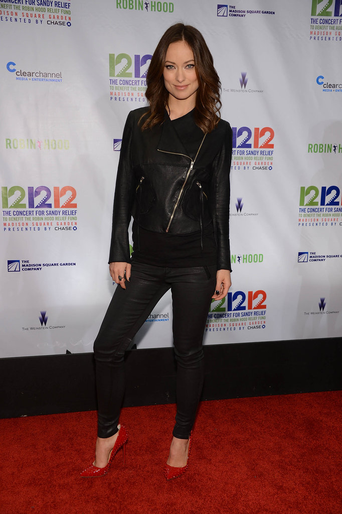 Olivia Wilde stepped out in black to attend the 12-12-12 Robin Hood Relief Fund concert in NYC.