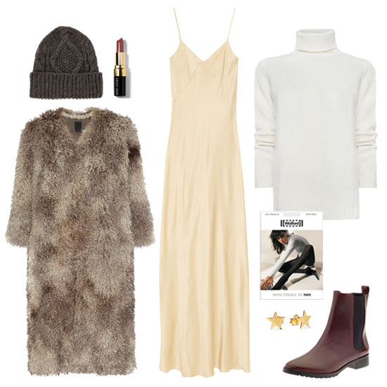 Winter whites with a layered, cozy twist. To make sure you're not drowning in the lighter hue, take care to play with proportions, tones, and texture. Here, we went with a cream-colored base (the maxidress) and offset it with a stark white turtleneck — angora was a plus! — and a luxe faux fur coat. The accessories are really up to you, but if you want to give your neutral foundation a one-two punch, go for a seasonal twist of oxblood red. A sultry-hued Chelsea flat boot and a matte red lip bode perfectly for this wintry mix.  Shop the look:   Mango Angora Turtleneck Jumper ($55)  T by Alexander Wang Silk-Charmeuse Maxi Dress ($105, originally $270)  Anna Sui Faux Shearling Coat ($290, originally $580)  Gorjana Small Star Stud Earrings ($35)  Ralph Lauren Denim & Supply Cable Knit Beanie ($55)  Bobbi Brown Lip Color in Black Berry ($24)  Wolford Satin Opaque 50 Tights ($45)  Elizabeth and James Paul Boot ($260)