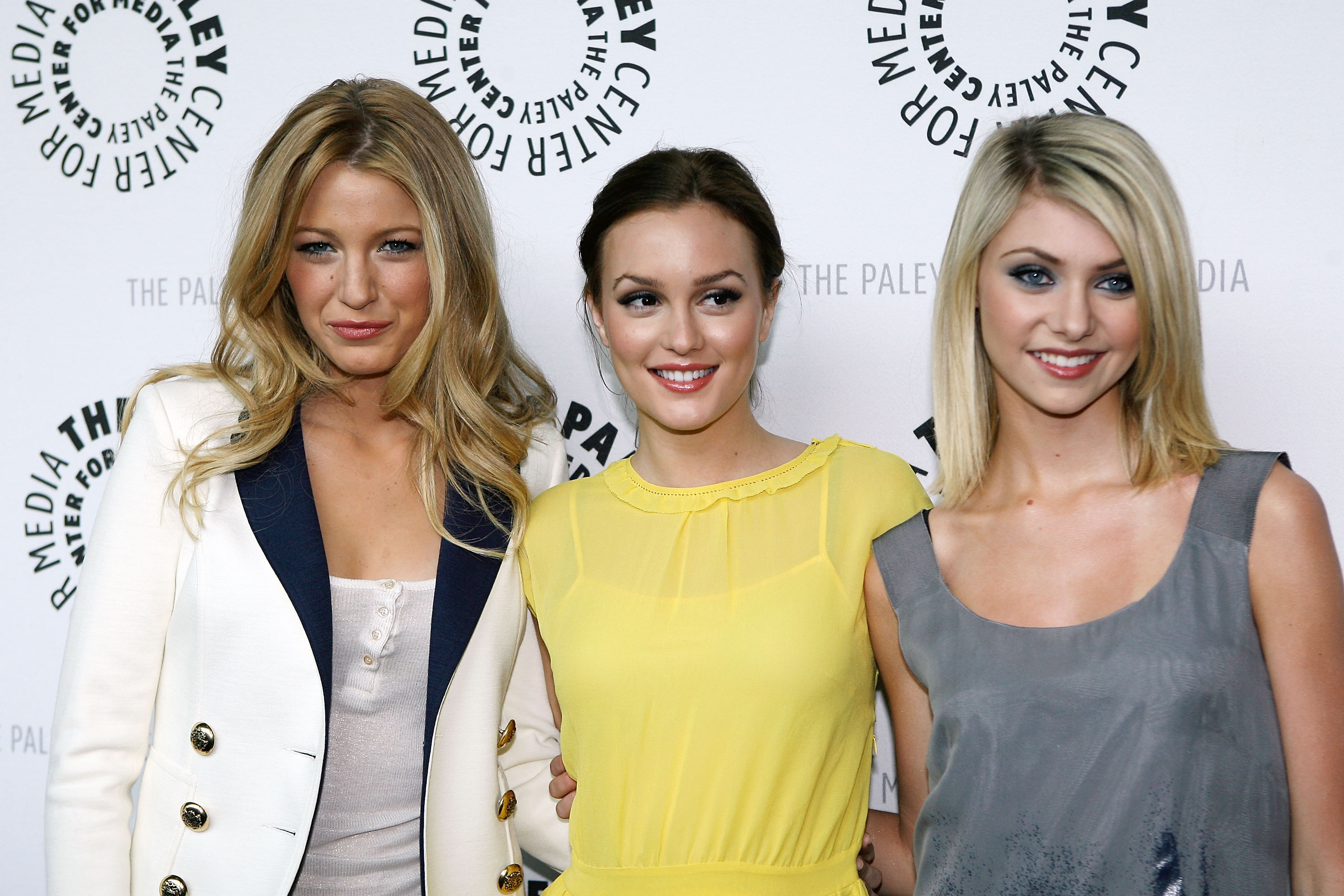 Blake Lively, Leighton Meester, and Taylor Momsen smiled for photographers at a PaleyFest event in March 2008.